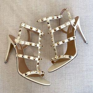 Valentino Rockstud Sandals Heels Cream Size 8